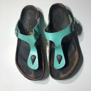 Birkenstock's 260 Gizeh Teal Thong Sandal Sz 40